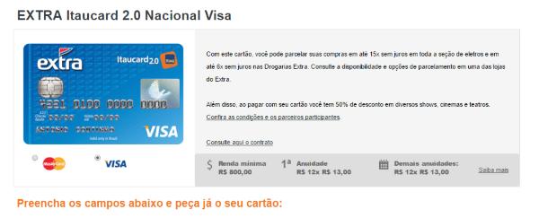 como-fazer-cartao-de-credito-extra-visa-passo-1